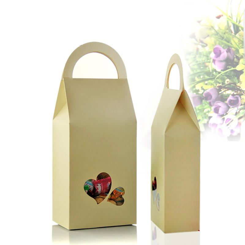 50pcs/Lot 11cm*23cm+5cm Kraft Paper Candy Bags Packaging Bag With Handle Gift Paper Bags