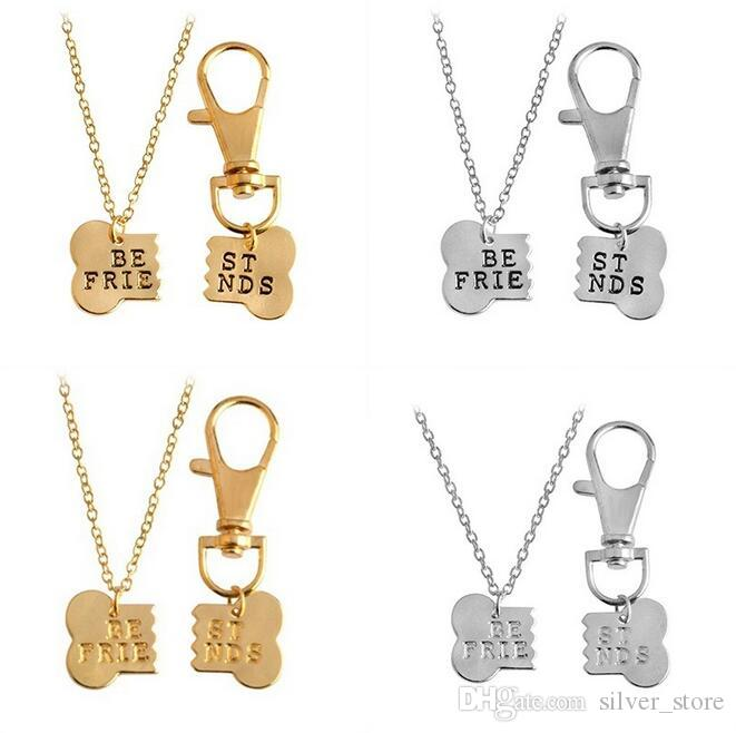 Best gift Good friend BEST FRIENDS Two Petty Pet Dog Bones Master Necklace Dog Brand WFN402 (with chain) mix order 20 1set=2 pieces