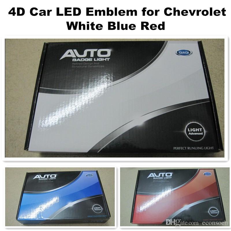 4D Para Chevrolet carro levou emblema 170x55 mm logotipo levou luz branco do vermelho símbolos traseiros emblemas