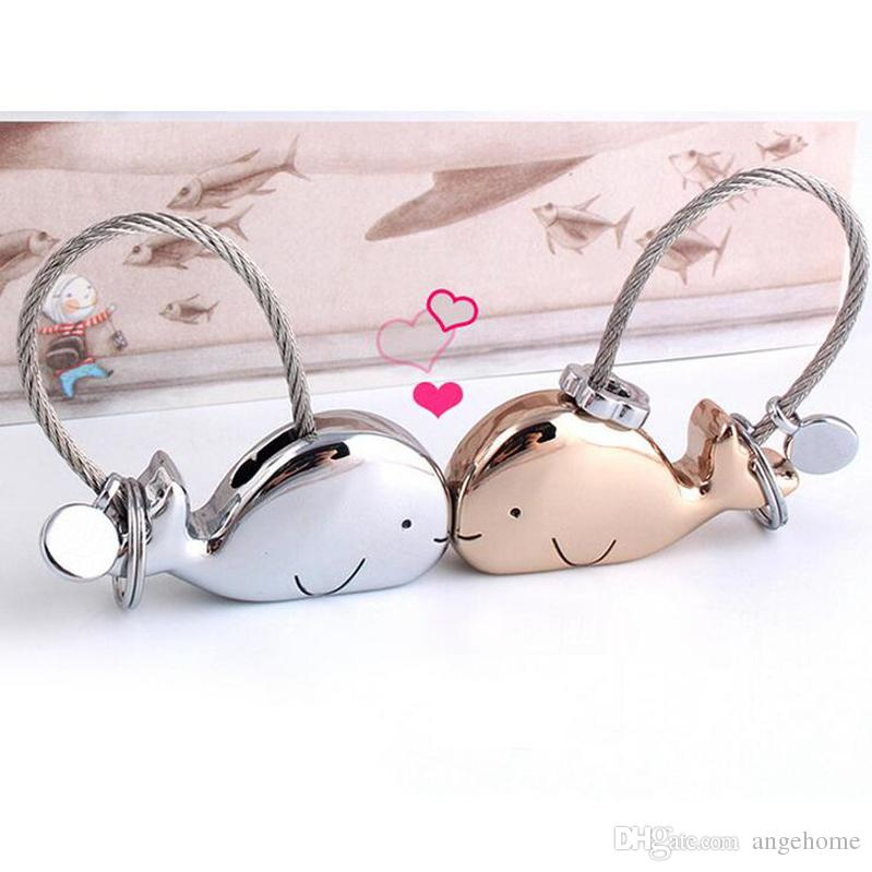 Kiss Whale Key Ring Holder Chains For Lover Couples Gift Bag Pendant - Key Trinket Car Keychain Keyring - Metal Trinket
