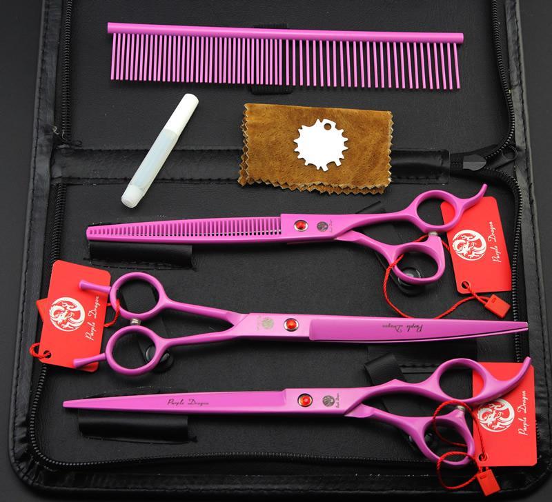 "8.0 ""Purple Dragon Professional Pet grooming Forbici Pet taglio cesoie JP440C Cutting Scissors Thinning Scissors Curved Shear, LZS0608"