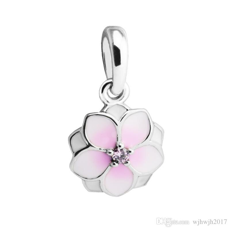 New Magnolia Bloom Dangle Charms Beads Authentic 925 Sterling Silver Flower Bead Fits DIY Brand Bracelets Jewelry Making Accessories