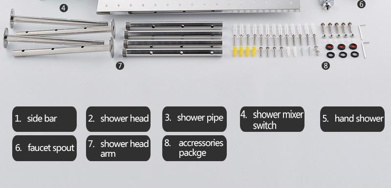hm Bathroom Shower Head with 4 Ways SUS304 20inch Rain & Mist & Brass Slide Bar & Brass Spout & Brass Handheld Shower Set (31)