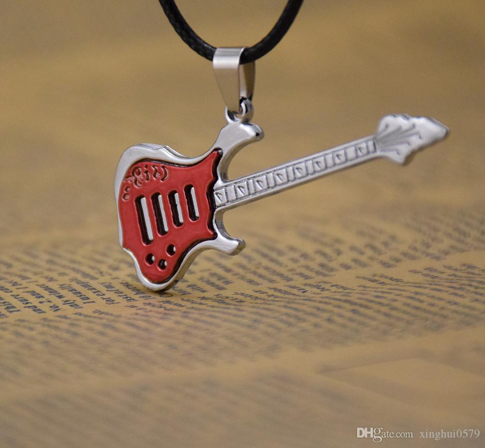 Supply fashion 5 colors music guitar necklace Pendant Necklaces men's jewelry men necklaces Black wax rope chain mix Classic style
