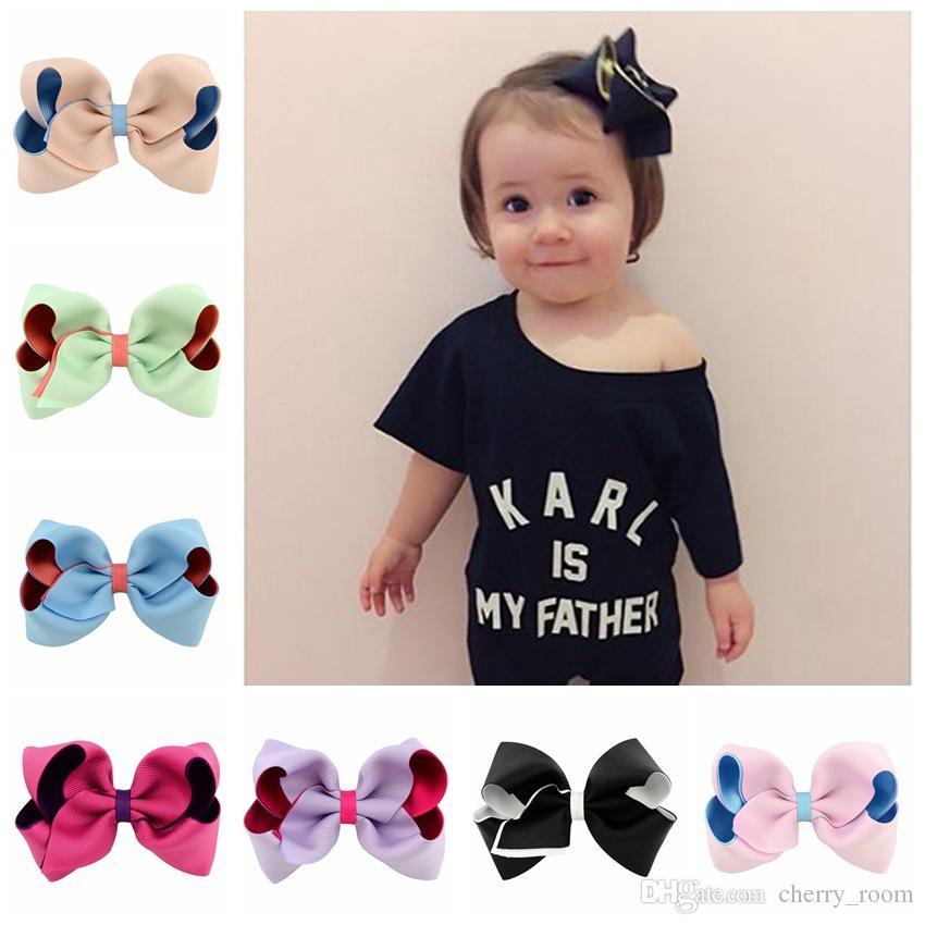 capelli accessori per capelli Newborn girl pin Bow forcine ragazze boutique bambini principessa barrettes doppio colore grandi fiocchi bambino capelli clip di C1585