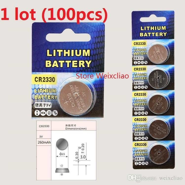 100pcs 1 개 CR2330 3V 리튬 이온 버튼 셀 배터리 CR 2330 3 볼트 리튬 이온 배터리 무료 배송