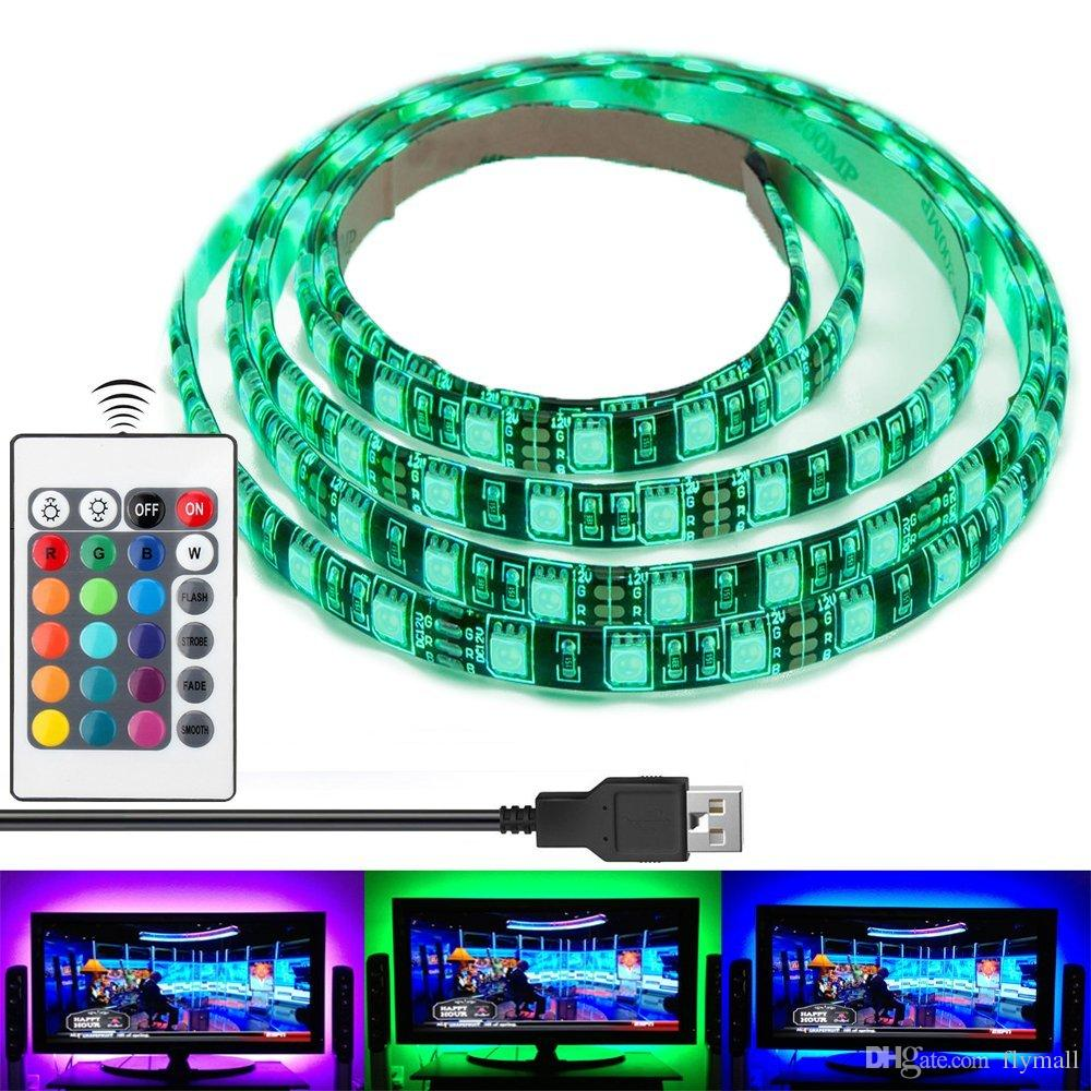 Waterproof 5050 USB LED Strips Backlight RGB Lights with Remote Control for HDTV Flat Screen TV Accessories and Desktop PC Multi Color