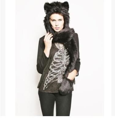 Women Girl Lady Designer Cute Animal Fur Hat Hood Scarf Glove Set Winter Cap with Animal Ears Hat Halloween Christmas Gift