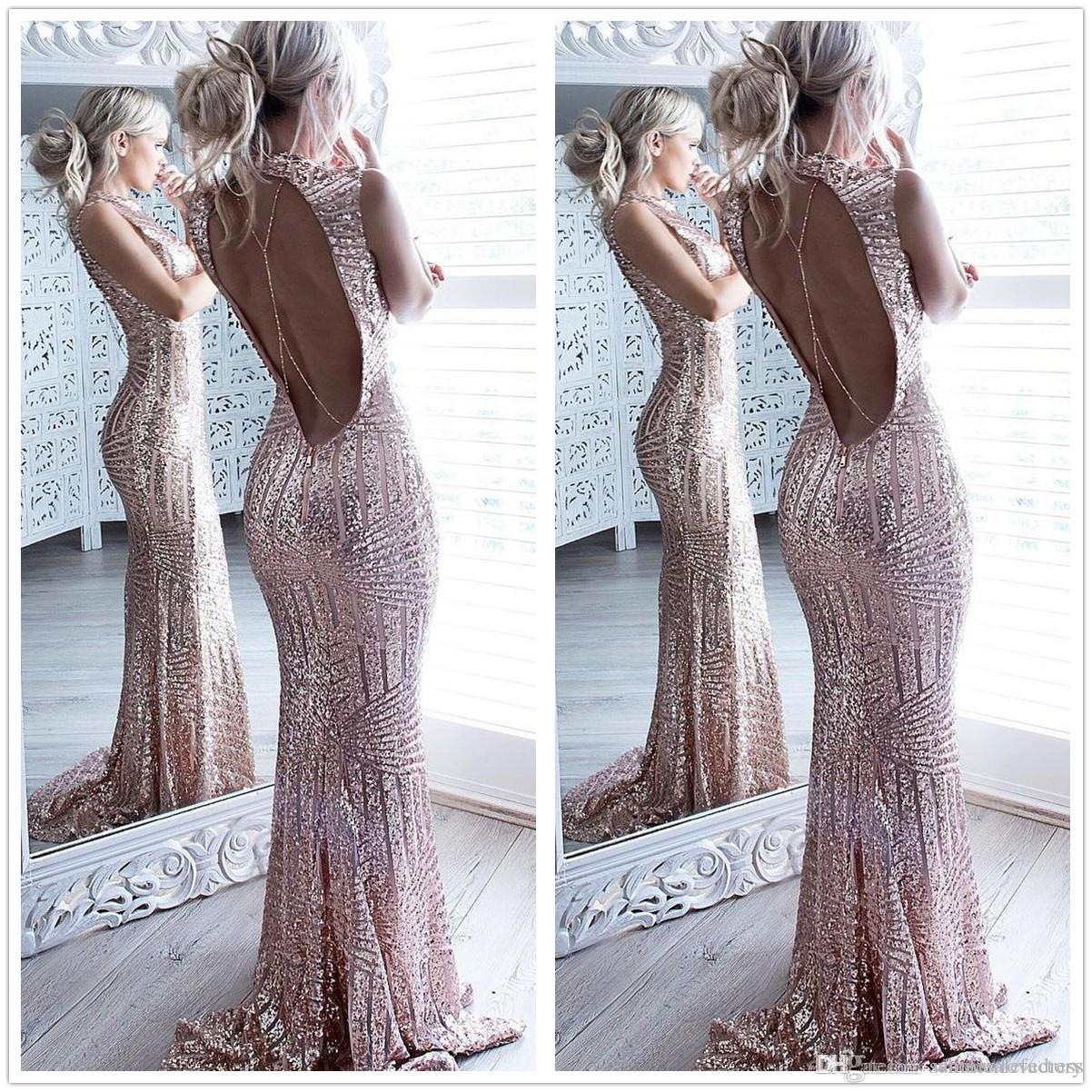 Sexy Rose Gold Backless Mermaid Sequined Long Prom Dresses High Neck Full Length Elegant Vintage Long Formal Party Evening Gowns Jr Prom Dresses Long