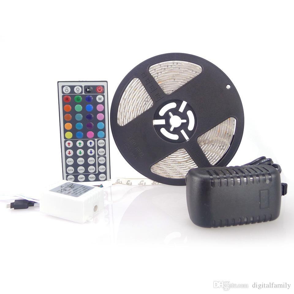 RGB LEDストリップ3528 SMD 150メートル30トロール30LEDSフレキシブル防水+ 44キーIRリモートコネクタ+プラグ付き12V 2A電源