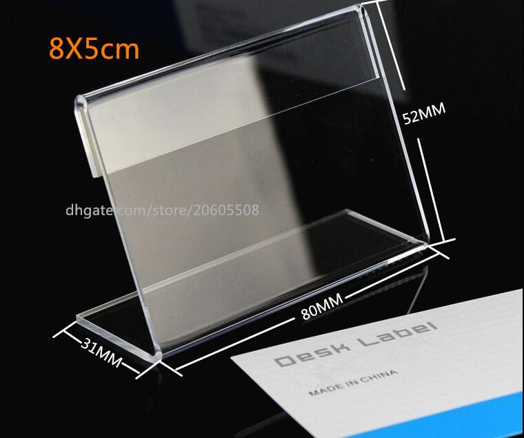 20pcs Free shipping 8*5cm Acrylic Table Sign Price Tag Label Display Paper Promotion Card Holders L-type Stand desk label display holder