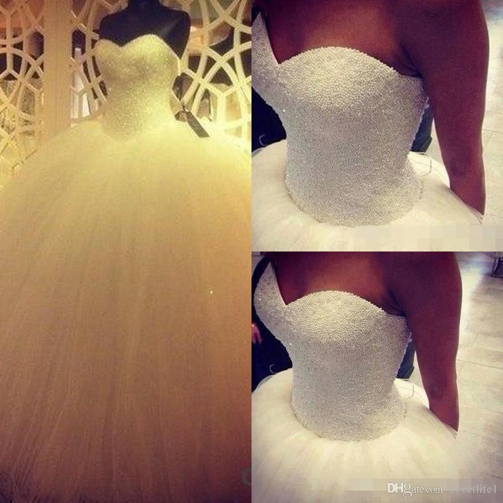 Schatz Prinzessin Ballkleid Brautkleider Perlen bodenlangen langen heißen Verkauf Tüll Satin Braut Brautkleider