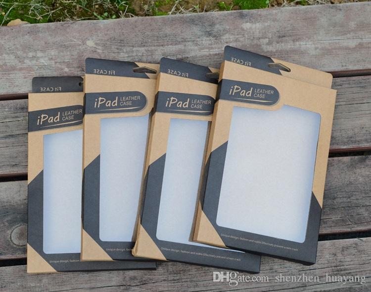 kutular 100pcs ambalaj i pad Mini 2 3 4 5 hava 2 Tablet PC 7.9 9.7 inç Kılıf Kapak Kılıfları için Kraft kağıdı Perakende paket kutu