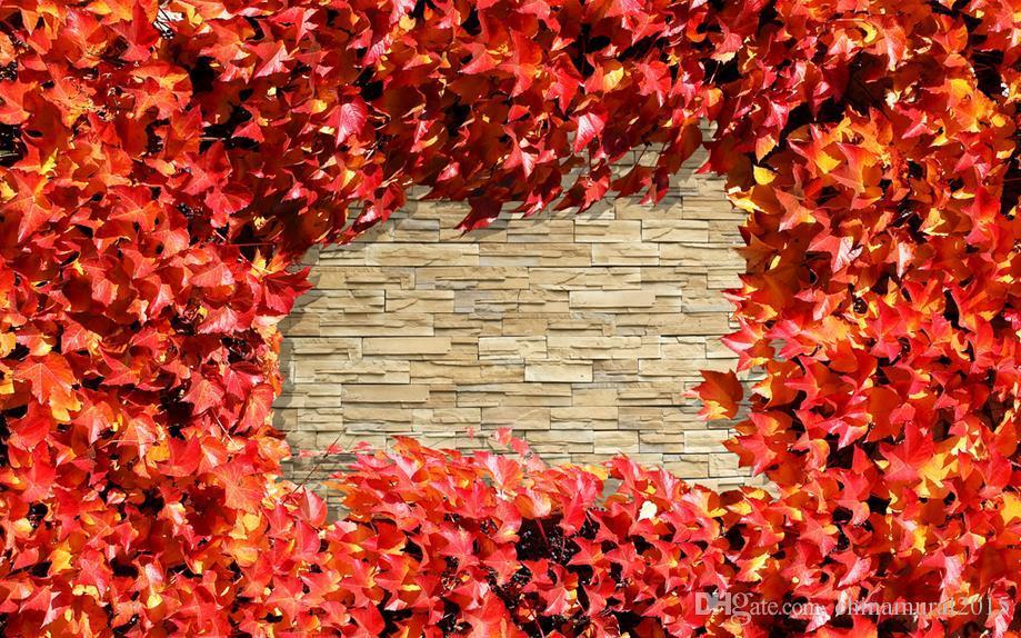 estilo de vida wallpaper elegante pared de ladrillo retro hoja de arce mural de la pared foto fondo de pantalla