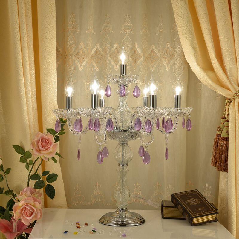 Lampade di cristallo del paese americano Lampada da tavolo in stile europeo luce soggiorno decorazione lampada da tavolo regalo villa vintage cristallo candela lampada da tavolo