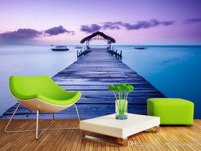 Textura de papel Customgrey para paredes para sala de estar Murales de vista al mar mural de paisaje 3d wallpaper-roll-size