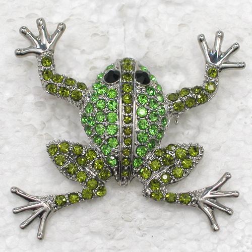Moda Crystal Rhinestone Animal Brooch Pin Rana Traje Broches Regalo Accesorios de la joyería C043
