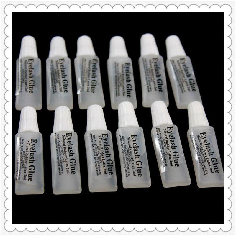 H-Beauty Pegamento de pestañas falsas 2 ml de plástico tubo plano de viaje portátil sin estimulación de pegamento pequeño Lady Makeup Tool al por mayor
