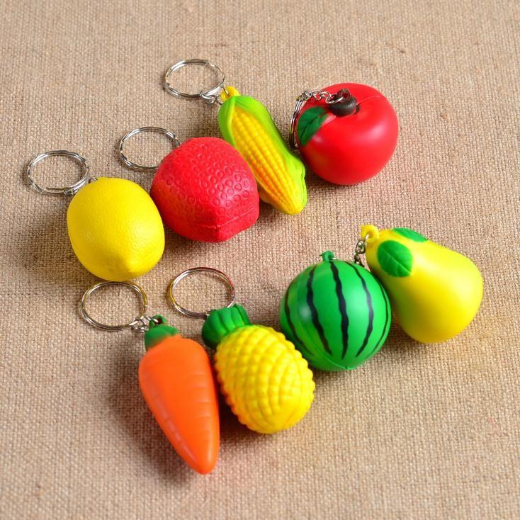 Toptan-Yumuşak PU Köpük Top Şekli Anahtarlık oyuncak charmTropical Meyve Cep Zinciri Anahtarlık Asma Süs telefon kolye accesso