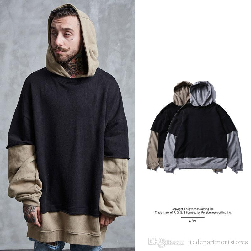 tide brand two men's hoodie 2017 autumn and winter new high street loose stitch male round neck hoodie men