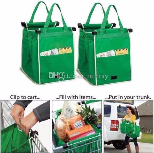 Beliebte New Grab Bag Wiederverwendbare umweltfreundliche Einkaufstaschen, die Clips in Ihren Warenkorb Falztaschen 100pcs OPP Beutel-Paket FEDEX geben Schiff frei