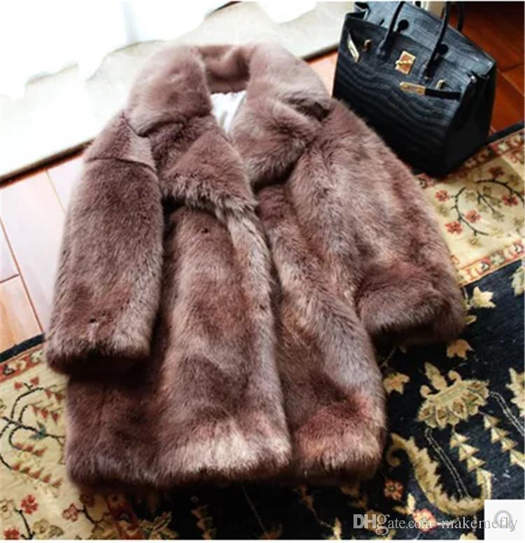 Толстый искусственный мех длинное пальто N34