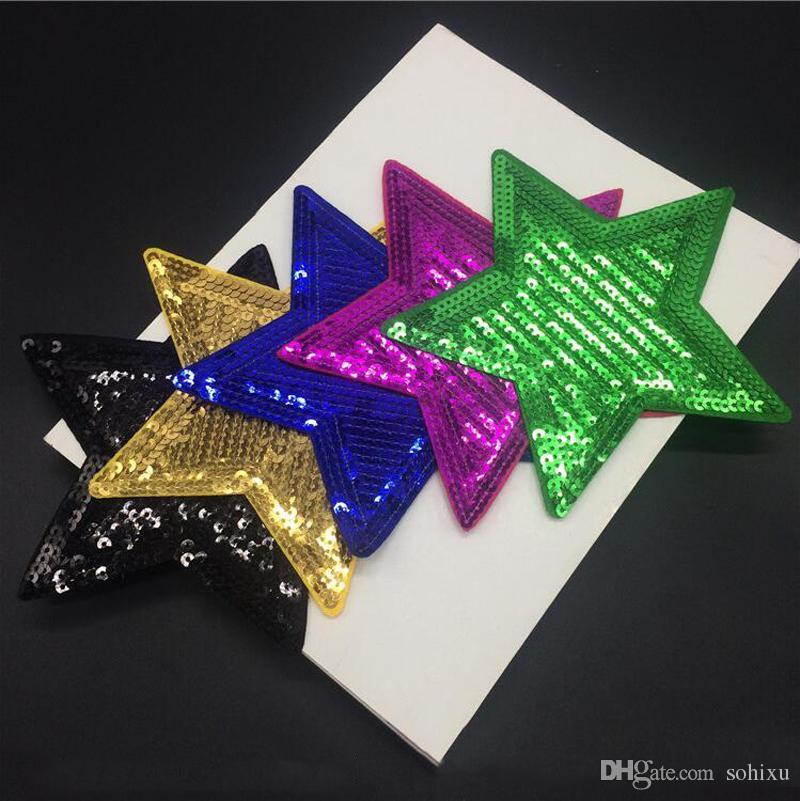 20 adet Yıldız Glitter Yamalar Pullu Işlemeli Biker Rozeti Yama Giyim Ceket Parches Elbise Için Patchwork Aplikler Etiketler Için Giysi