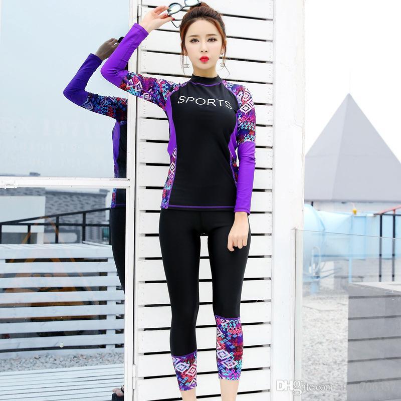 Long Sleeve Wetsuit Women Swimwear Surf Rash Guards Womens Diving Suits bodysuits Woman Wetsuits Floral Swimsuit 6605