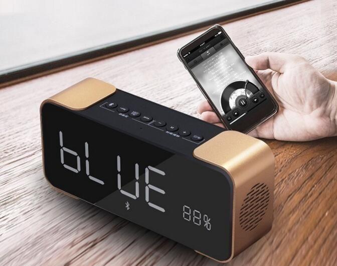 2017 New Premium Surround Wireless Speaker Box Clock LED Display FM Radio Alarm  Clock TF Bedroom ...