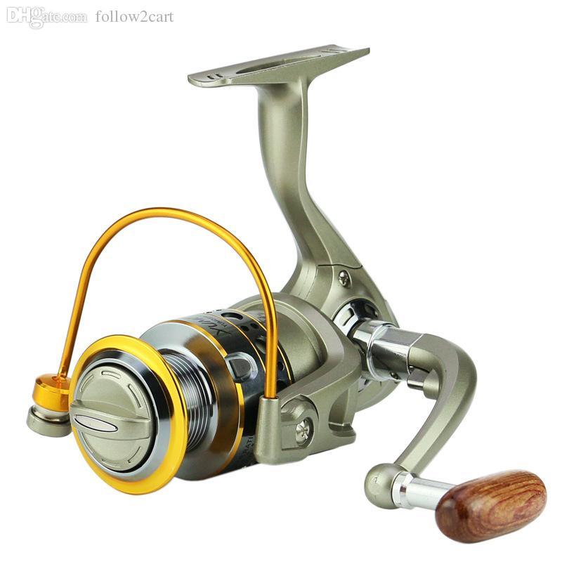 12 Rolamento De Esferas De Metal Fio De Pesca Reel Speed Ratio 5.5: 1 Carretel De Isca De Pesca 3000 4000 Series Right / Left Hand Wood Handle