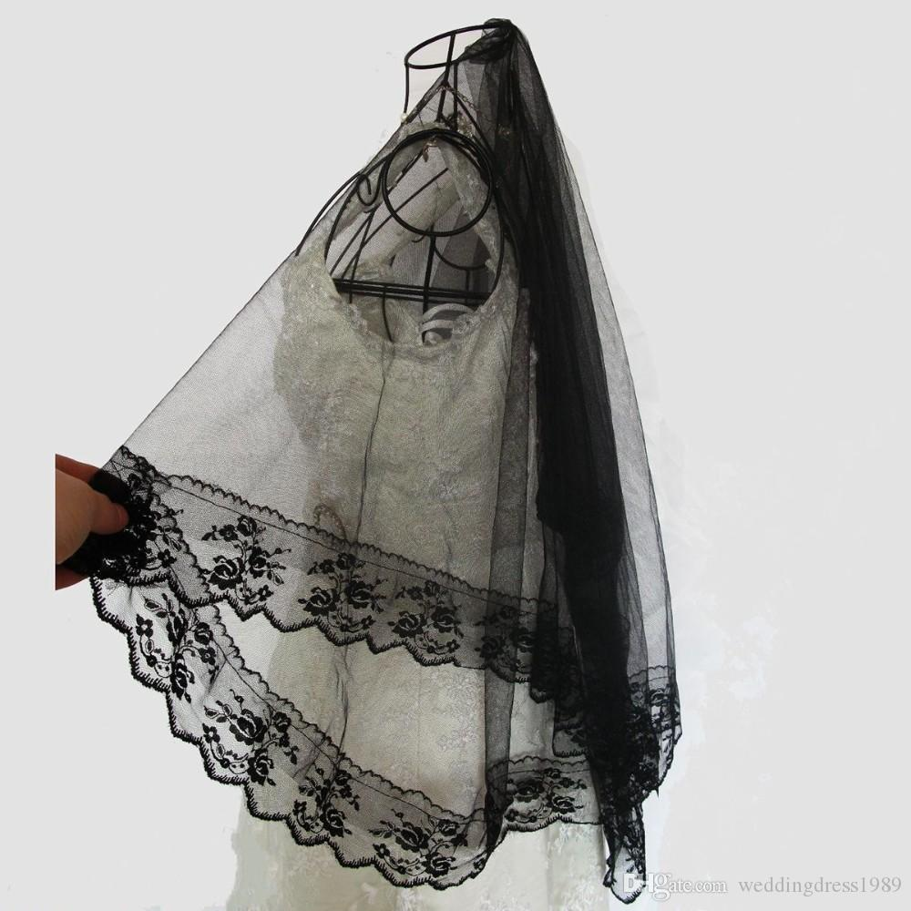 Charming Lace Wedding Bridal Veils Without Comb One layer Veil Wedding Accessory Spring Cheap Free Shipping In Stock Black Color