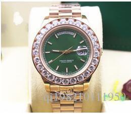 Luxo Presente de Natal 228238 18k Rose Gold Big Diamond Bezel Data Data 41mm Mens Automático Relógio Verde Dial Masculinos Esporte Relógios de Pulso