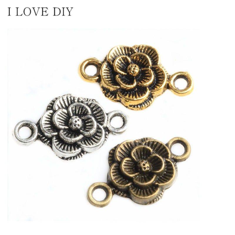 30шт античное серебро / бронза в форме цветка разъемы подвески для ювелирных изделий DIY браслеты
