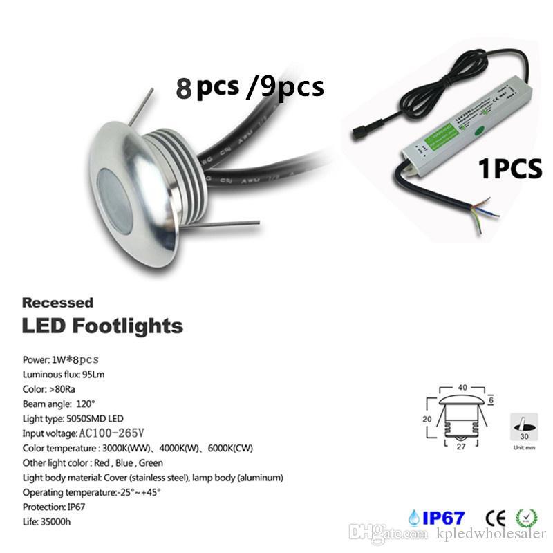 8-9pcs / set Einbau 1W LED DC12V Fußboden-Licht für Garten Außenbeleuchtung Wasserdicht IP67 U-Lampe mit IP67 CE-Treiber