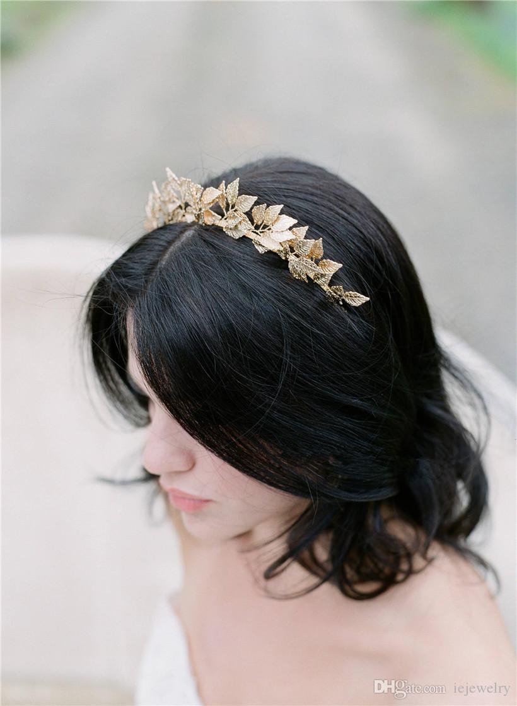 2017 vintage wedding bridal leaf headband crown tiara gold silver
