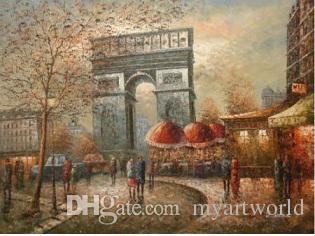 Люди в европейской Франции Город на Триумфальную арку, расписанную Great Wall Decor Cityscape Art Картина маслом на холсте различных размеров Cs002