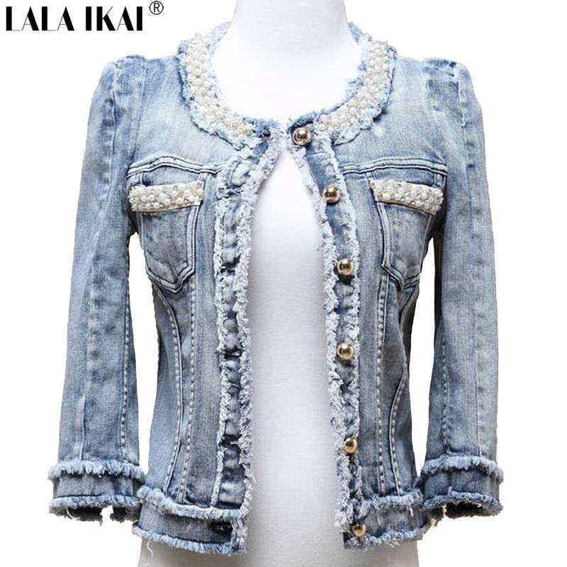 All'ingrosso rivestimento delle donne Pearl Distressed Breve denim cappotto Giacca Fringe Jeans Donna che bordano denim Giacchette Abbigliamento da esterno TOP354 -5