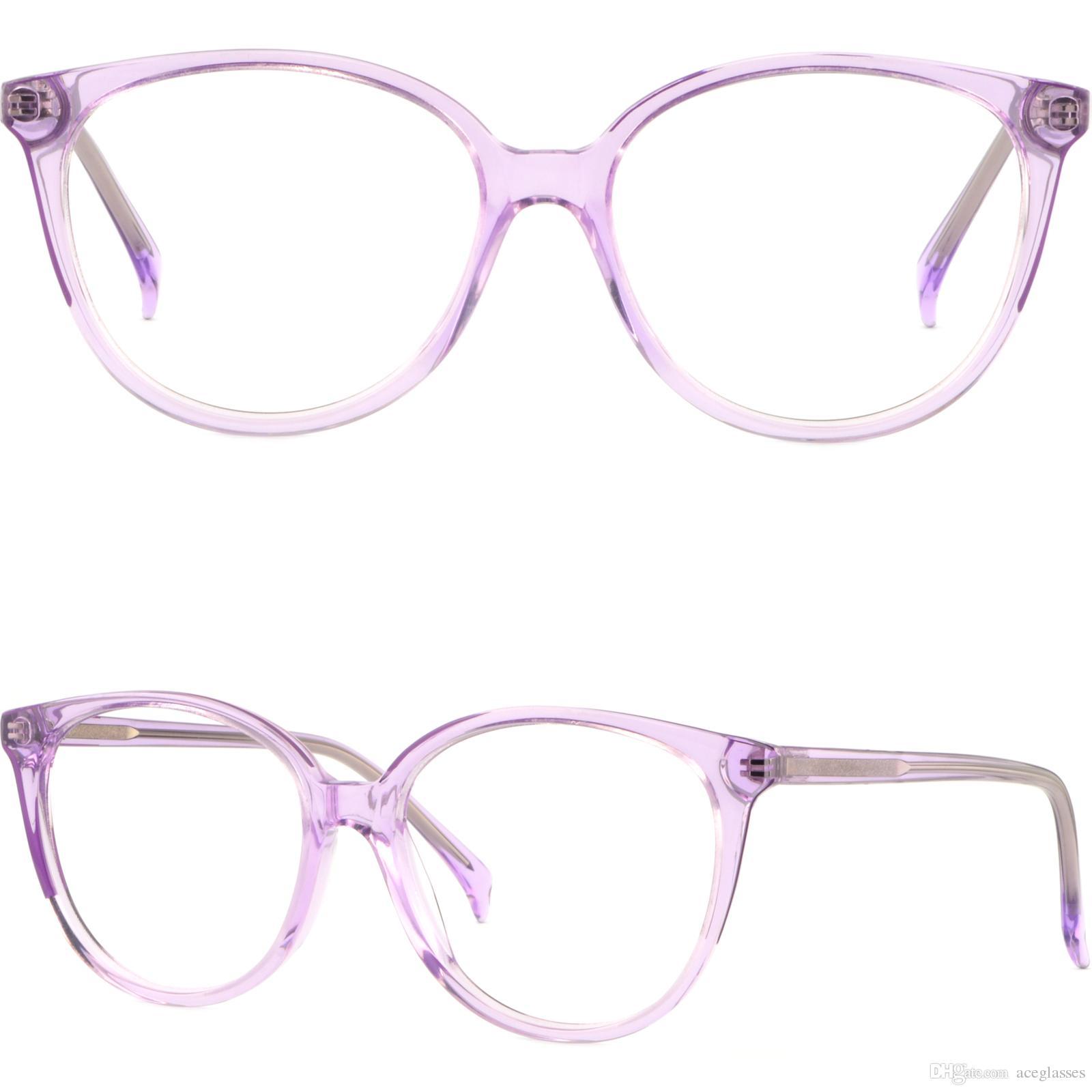 Occhiali da vista in plastica leggera Occhiali in acetato sottile Lavanda viola Brillengestell Fassung Damenbrille Rund