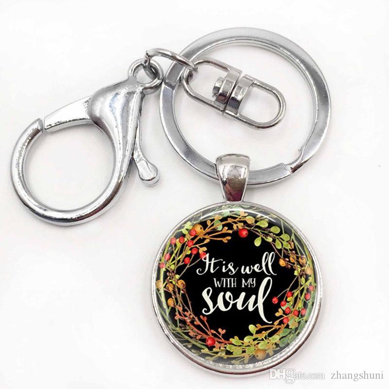 É bem com a minha alma chaveiro jóias religiosas pingente de bíblia anel chave presente para o seu presente de aniversário para as mulheres para homens