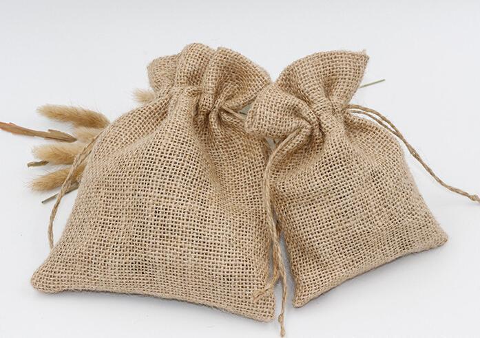 9,5 * 14,5 CM naturel Hessian lin cordons sacs naturel jute toile de lin sac bundle corde