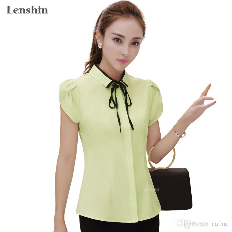 7b17eb2b9d162 Blusa de manga de pétalos Femme Camisa de lazo amarillo Estilo casual Nueva  moda de manga corta Mujer Tops Ropa de verano Señoras de oficina