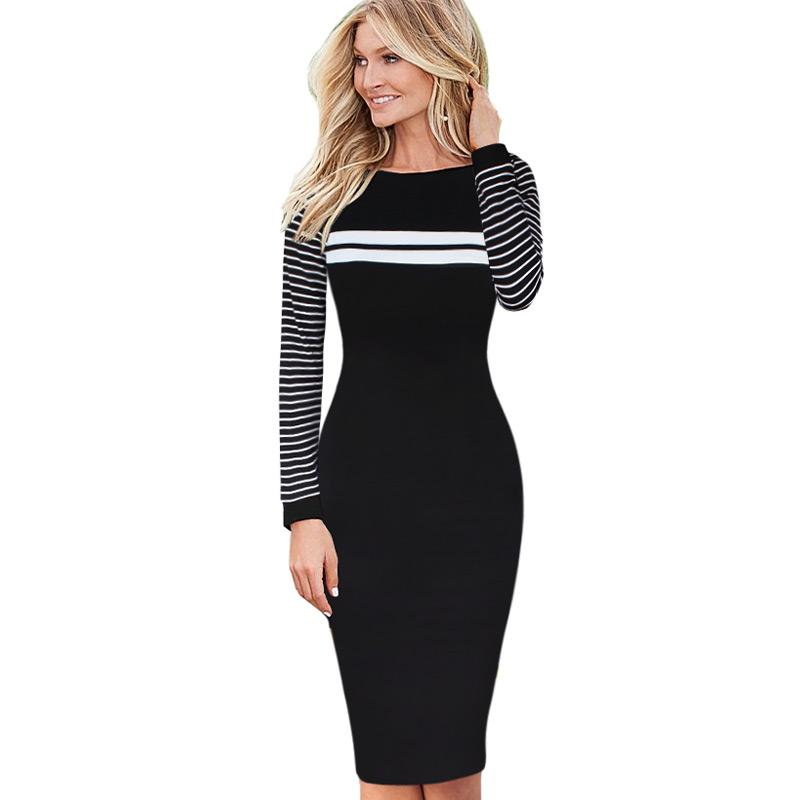 New Fashion Womens Elegant Stripe Patchwork Slim Wear to Work Office Business long sleeve Pencil Sheath Bodycon Casual Dress