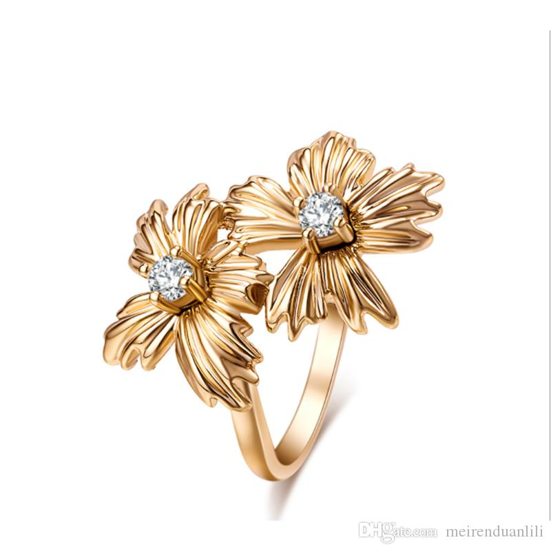Flower Crystal Rhinestone Ring Charm New Arrival Band Ring Vintage Fashion Jewelry Rings for Women Silver Gold 2Colors Free Shipping
