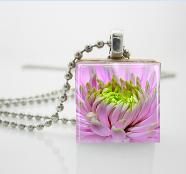 Wholesale pink purple flower bloom petals scrabble necklace scrabble wholesale pink purple flower bloom petals scrabble necklace scrabble tile pendant free ball chain necklace or key ring silver heart necklace pendants for aloadofball Choice Image