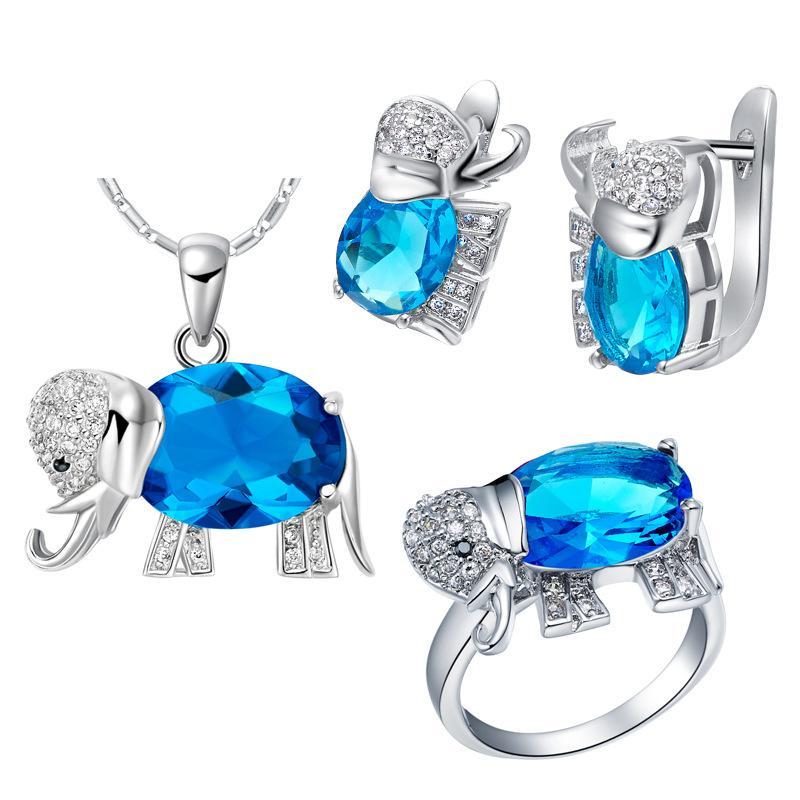 Esportazione in argento 925 moda moda del vestito estero fatta dal fornitore attraverso l'elefante di pietra colorato denaro caldo