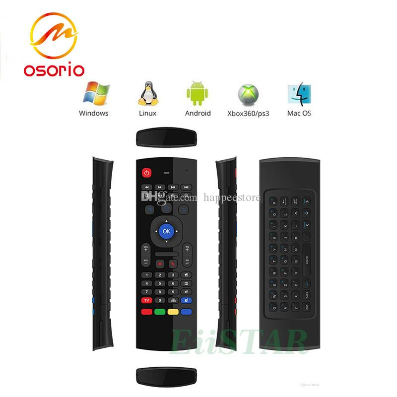 MX3 2.4GHz Fly Air Mouse Mini Keyboard Wireless Remote Controller 6-Axis Gyroscope Gamepad For MXQ Pro M8S Plus T95 X6 TV BOX