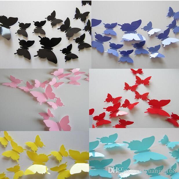 12 PC / sistema 3D de pared del PVC DIY de la mariposa pegatinas Decoración Cartel para Cocina Baño Nevera adhesivo a etiquetas de la pared de la decoración G661