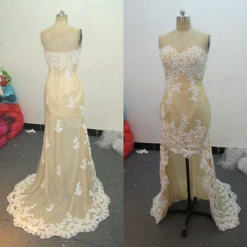 Real Image High Low Bridesmaid Dress Sweetheart Ärmlös Vintage Lace Appliques Kort framsida Långt Back Formell Bröllop Gästklänningar