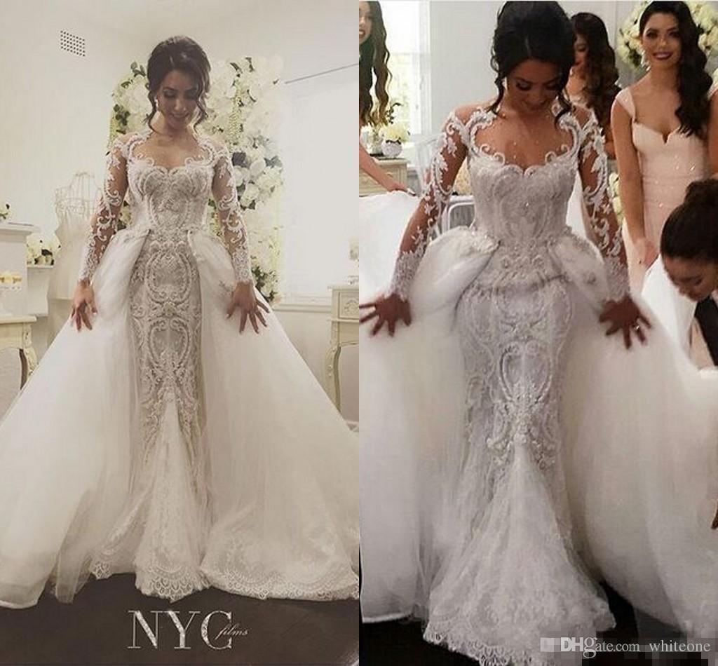 Großhandel 17 Abnehmbare Rock Lange Ärmel Meerjungfrau Brautkleider Luxus  Wulstige Erstaunliche Stickerei Detail Dubai Arabischen Hochzeitskleid