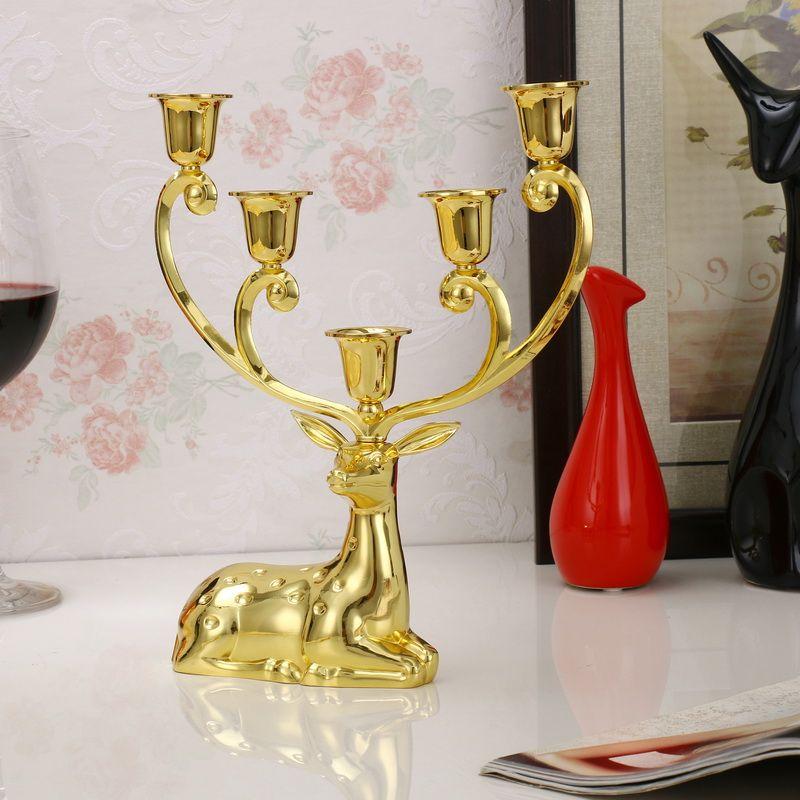 Luxe gevlekte herten kandelaars roestvrijstalen kandelaar Candelabra voor bruiloft